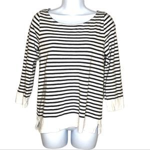 J. Crew Striped 3/4 Sleeve Top Size Large